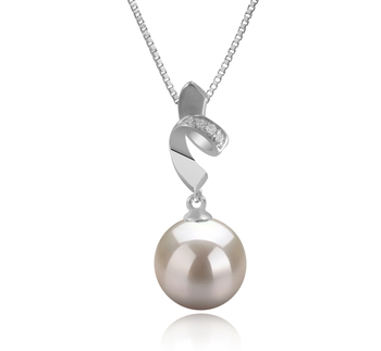 Winola Blanc 9-10mm AAAA-qualité perles d'eau douce 925/1000 Argent-pendentif en perles