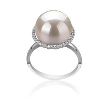 Yanaka Blanc 12-13mm AA+-qualité perles d'eau douce - Edison 925/1000 Argent-Bague perles
