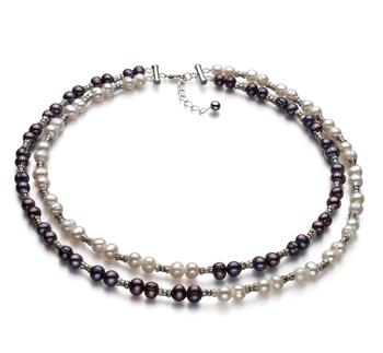YinYang Noir et Blanc 6-7mm A-qualité perles d'eau douce 925/1000 Argent-Collier de perles