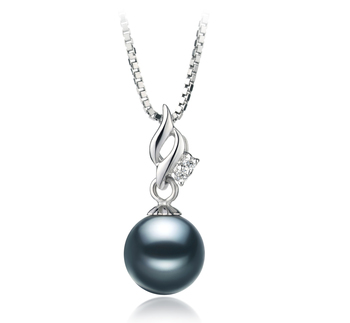 Zalina Noir 7-8mm AA-qualité Akoya du Japon 925/1000 Argent-pendentif en perles