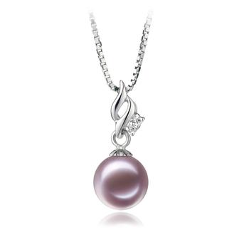 Zalina Lavande 7-8mm AAAA-qualité perles d'eau douce 925/1000 Argent-pendentif en perles