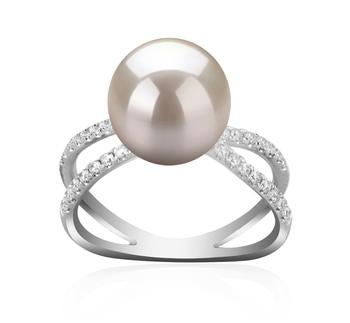Zana Blanc 9-10mm AAAA-qualité perles d'eau douce 925/1000 Argent-Bague perles