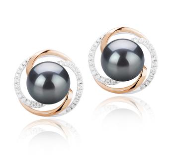 Zina Noir 8-9mm AAAA-qualité perles d'eau douce 925/1000 Argent-Boucles d'oreilles en perles