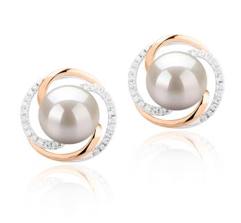 Zina Blanc 8-9mm AAAA-qualité perles d'eau douce 925/1000 Argent-Boucles d'oreilles en perles