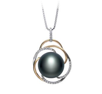 Zina Noir 12-13mm AA-qualité perles d'eau douce 925/1000 Argent-pendentif en perles