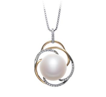 Zina Blanc 12-13mm AA-qualité perles d'eau douce 925/1000 Argent-pendentif en perles