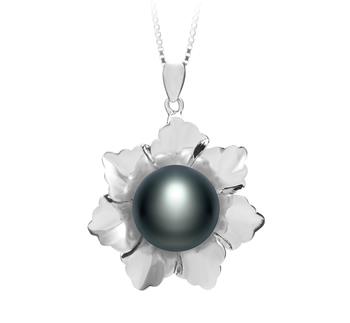 Zoe Noir 11.5-12mm AA-qualité perles d'eau douce 925/1000 Argent-pendentif en perles