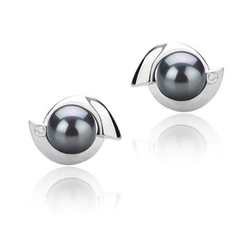 Zorina Noir 6-7mm AAAA-qualité perles d'eau douce 925/1000 Argent-Boucles d'oreilles en perles