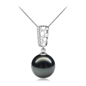 Zuella Noir 10-11mm AAA-qualité de Tahiti 585/1000 Or Blanc-pendentif en perles